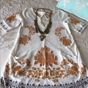 Free People S embroidered boho tunic ties pockets